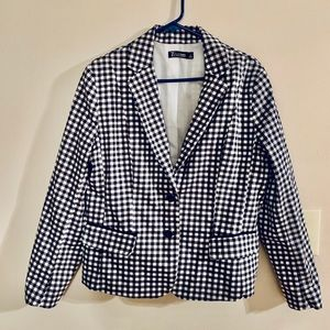 New York & Co 7th Ave Blk & White Checkered Jacket